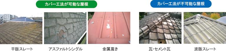 カバー工法の可能な屋根と、カバー工法が出来ない屋根